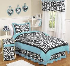 "Turquoise Funky Zebra Childrens Bedding 4 pc Twin Set by Sweet Jojo Designs by Sweet Jojo Designs. $99.99. Dimensions: Comforter ( 62"" X 86"" ), Sham ( 20"" X 26"" ) Valance (54"" X 15""). 4 piece bedding set: 1-Comforter, 1-Sham, 1-Twin Bed Skirt, 1-Window Valance. This set is made of 100% cotton and is machine washable.. This set uses a black and white zebra print design with turquoise accents.. This design has matching accessories such as hampers, lamp shades, window treat..."