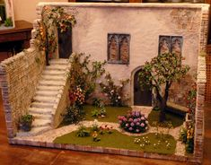 Pinned for stone walk surrounded by low ground cover - Monastery garden in Teamwork with Karin Caspar and Jeannette Buchholz ,who made the wonderful flowers. rights reserved Miniature Plants, Miniature Rooms, Miniature Houses, Miniature Fairy Gardens, Miniature Furniture, Vitrine Miniature, Wonderful Flowers, Fairy Garden Houses, Dollhouse Miniatures