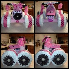 4 wheeler baby shower gift I made for my cousin. It's so easy and fun to make. I got the directions off another pinterest pin which is under my lil munchkin board.