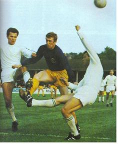 August Fairs Cup Final Leg at Elland Road. Leeds United centre forward Mick Jones and stopped in his track by a Ferencvaros defender. Mick Jones, Leeds United, Football Soccer, Finals, The Unit, Peacocks, Don't Care, Track, Action