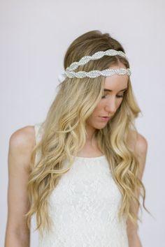 Wedding Head Piece Headband Double Layered by ThreeBirdNest, $168.00