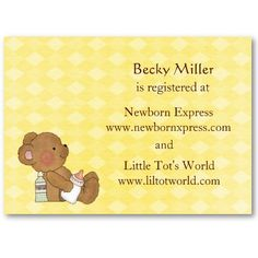 """Help celebrate and prepare mom for her new baby on the way with a wonderful baby shower. Add these handy registry cards to invitations to help guest know where the mommy to be is registered. Front background pattern is a light yellow alternating with darker yellow diamond checkered pattern. Frontside also depicts a cute brown baby bear holding a bottle. Registry cards are created from a """"chubby"""" business card size measuring 3.5 x 2.5 inches Owl Shower, Baby Shower Registry, Teddy Bear Baby Shower, Brown Babies, Baby On The Way, Business Card Size, Background Patterns, Baby Shower Invitations, New Baby Products"""