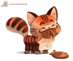 Taiyaki by Cryptid-Creations, cute #kitten made of bread eating a cookie fish, digital painting, #sketch, daily painting, illustration, cute animals, pets, cat, inspirational #art
