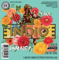Etiqueta para la colección #indiobarrios  cerveza indio