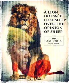 "trump lion 4 poster CLG:: ""I.e. the American people are sheep"""