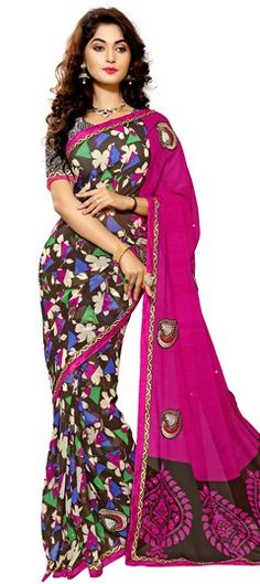 701919 Multicolor  color family Embroidered Sarees,Party Wear Sarees,Printed Sarees in Faux Chiffon fabric with Lace,Machine Embroidery,Patch,Printed,Stone,Thread work   with matching unstitched blouse.