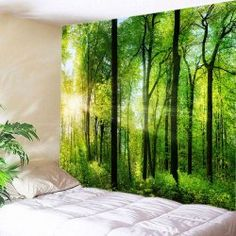 Wall Hanging Art Decor Sun Forest Print Tapestry - Green W91 Inch * L71 Inch Washable Polyester