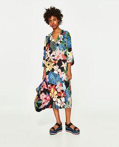 Zara Tropical Print Over Shirt Nwt Moda Zara, Zara Fashion, Fashion 2017, Zara Mode, High Street Fashion, Kimono Cardigan, Fashion Fabric, Holiday Dresses, Moldova