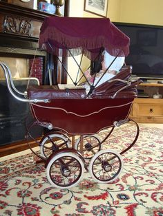 Vintage Marmet Coach Built Antique Dolls Pram With Canopy