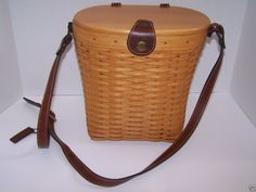 Longaberger Saddlebrook Purse Basket Woodcraft Lid Leather Strap Country Estate