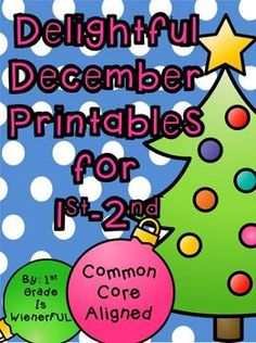 FREEBIES in the PREVIEW!  Delightful December Printables for 1st-2nd Grade~ Math and ELA printables!  Great for centers, whole group lessons, or small group instructions!  PRINT AND GO! Themes:  Christmas, Santa, Elves, Ornaments, Kwanzaa, Hanukkah, and Stockings!