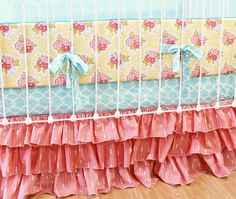 Bumperless Coral Baby Girl Crib Bedding by LottieDaBaby on Etsy