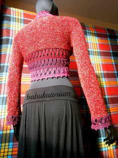 """Mulled Wine"" - Knitted Bolero With Crochet Broomstick Lace Decoration by babukatorium, via Flickr"