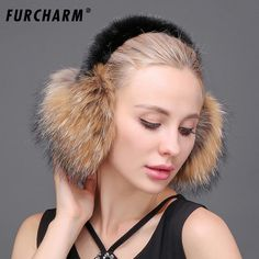 Women's Earmuffs Real Fox Fur Earmuffs For Winter Women Warm Natural Raccoon Fur Earmuffs Girls Ear Warmer Genuine Fur Scarves Plush Ear Muff Handsome Appearance Women's Accessories