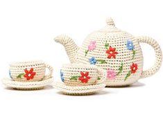 Floral crochet tea set