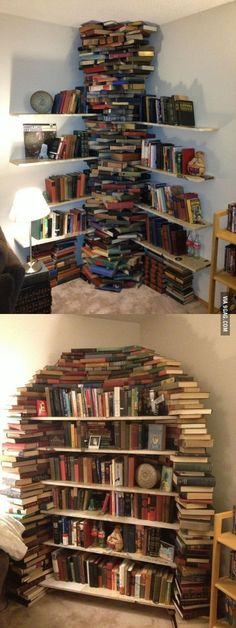 bookshelves made out of books.  I could do this!  I've got stacks of books I've collected that I don't read anymore but haven't the heart to get rid of them.