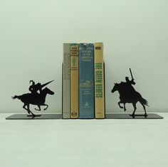 Jousting Knights Metal Art Bookends