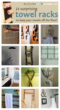 DIY Towel Holders Curated board for Hometalk Happy Sunday HELLO readers! We are excited to share that Hometalk has invited Hello I Live Here to share a curat… Towel Rack Bathroom, Towel Racks, Towel Holders, Towel Storage, Kitchen Towels, Bath Towels, Videos Fun, Kids Storage, Food Storage