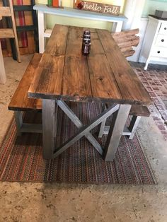 Rustic Wooden Farmhouse Table Set with Provincial Brown Top and Classic Gray Bas. Rustic Wooden Farmhouse Table Set with Provincial Brown Top and Classic Gray Base Criss Cross Style Includes Two Ben Rustic Table, Wooden Tables, Diy Table, Diy Dining Room Table, Bar Tables, Rustic Room, Kitchen Furniture, Rustic Furniture, Furniture Stores
