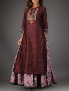 Brown Round Neck Chanderi Kurta with Embroidery and Slip (Set of 2)
