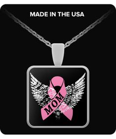 In Remembrance of Mom - Breast Cancer Necklace  ***You can also use your pendant as a charm... Attach it to your key chain, wallet, purse, hang it on your rear view mirror. There are endless possibilities for displaying your pendant.
