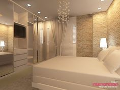 Creme e branco, clean Dream Bedroom, Home Bedroom, Bedroom Decor, Bedrooms, Suites, House Rooms, Sweet Home, New Homes, House Design