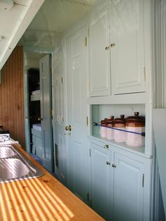 This lovely kitchen is in a school bus converted into RV, by Jake at Steampunk Workshop.