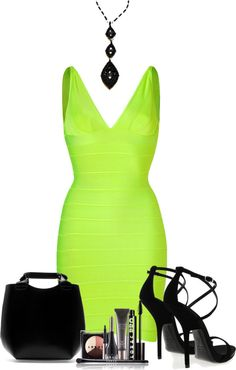 """""""neon and black"""" by twinklebluegem ❤ liked on Polyvore"""
