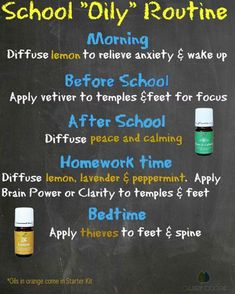 A simple daily routine with essential oils. Peace and Calming, Thieves, Lemon, Lavender, Peppermint, Vetiver. Almost all come from the Young Living premium starter kit.