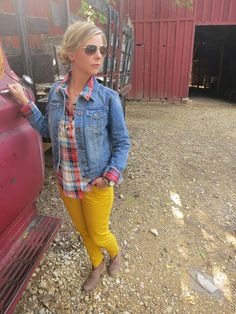 Mustard pants+plaid shirt+jean jacket= cute outfit!