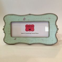 barber cosmetology license frame fits 8 12 x 3 58 busines cetification distressed mint paint