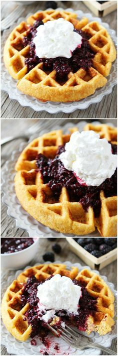 Cornmeal Waffles with Blackberry Compote Recipe on twopeasandtheirpod.com. Perfect recipe for Mother's Day! #mothersday #recipe #breakfast