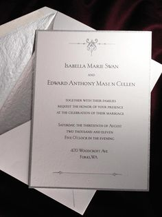 I want an invitation simple and elegant like this one from Breaking Dawn... I am thinking gold/ivory though.