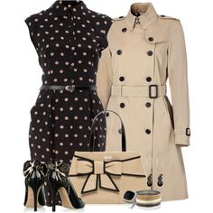 Burberry trench, black peeptoe lace heels & polka dot dress - I will never be able to afford any of this, but a girl can dream....