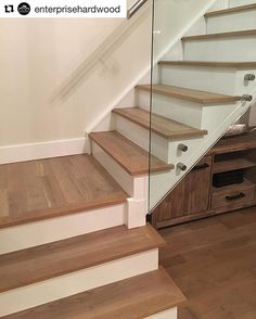 Pre-Finished Staircase with Custom Stained Matching Nosings Wood Floor Stairs, Stairs Vinyl, Laminate Stairs, Glass Stairs, Wood Staircase, House Stairs, Staircase Design, Staircase Remodel, Staircase Makeover