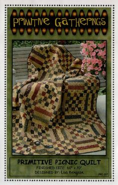 Primitive Picnic Quilt - quilt pattern - by Primitive Gatherings at The Calico Cottage Quilt Shop, your home for premium quilt fabric, patterns, and notions Small Sewing Projects, Sewing Ideas, Picnic Quilt, Primitive Quilts, Primitive Gatherings, Landscape Quilts, How To Finish A Quilt, Quilting Tips, Quilt Tutorials