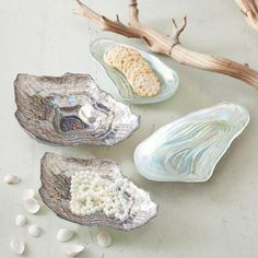 Two's Company Watercolors Sea Glass Set of Four Lustrous Shell Plates - 9881 for sale online