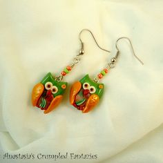 Green orange retro owl earrings Handmade by CrumpledFantazies