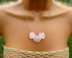 Raw Pink Rose Quartz Necklace Raw Stone Necklace
