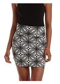 Tile Print Bodycon Mini Skirt