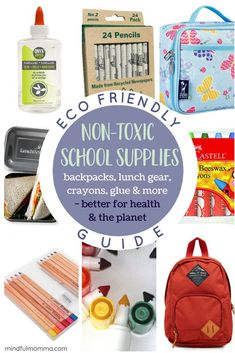 Roundup of non-toxic eco-friendly school supplies including pencils markers crayons glue and other art supplies as well as reusable lunch gear and durable backpacks - so you can check off that school supply list with eco-friendly products! Baby Supplies, School Supplies, Eco Kids, Alternative Education, Eco Friendly Cleaning Products, Green Living Tips, Supply List, Healthy Kids, Back To School