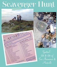Beach scavenger hunt for children.