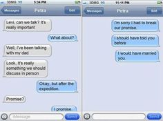 Shingeki no Kyojin (Attack on titan) Photo: Text messages Attack On Titan Funny, Attack On Titan Ships, Attack On Titan Anime, Armin, Levi X Eren, Levi Ackerman, Levi And Petra, Aot Memes, Dankest Memes