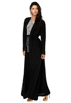 Elegant and chic! This gorgeous abaya from Kiah features a lace panel to the center with a tie-up belt. Shop for it via www.namshi.com