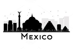 Mexico City skyline silhouette by @Graphicsauthor