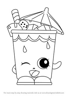 How to Draw Little Sipper from Shopkins - DrawingTutorials101.com