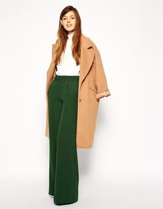 ASOS Premium Wide Leg Crepe Trousers. OR.......these I think are the best of the three.....what a rich green.....would look gorgeous on you. This whole outfit would be amazing on you.