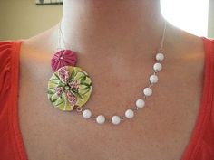 Twirly Flower Necklace with Beads - Yellow, Pink, and Green - White Beaded Chain