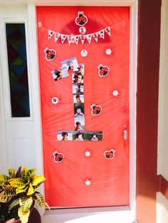 1 st birthday pics pictures front house door red lady bug