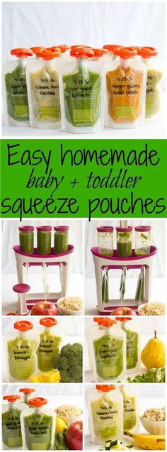 How to make homemade squeeze pouches and 5 easy recipes - great for babies, toddlers and preschool kids! | FamilyFoodontheTa...